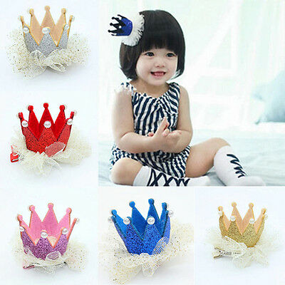 5 Colors Noble Baby Girls Crown Pearl Princess Hair Clip Party Accessories