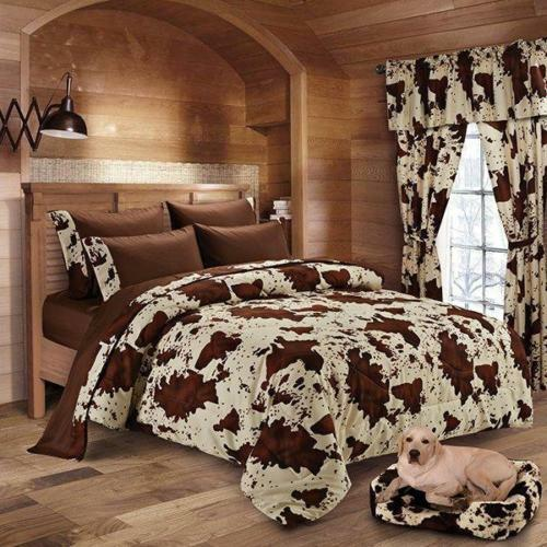 17 PC FULL Größe CHOCOLATE RODEO COMFORTER AND SHEET SET BEDDING W 2 CURTAIN SETS