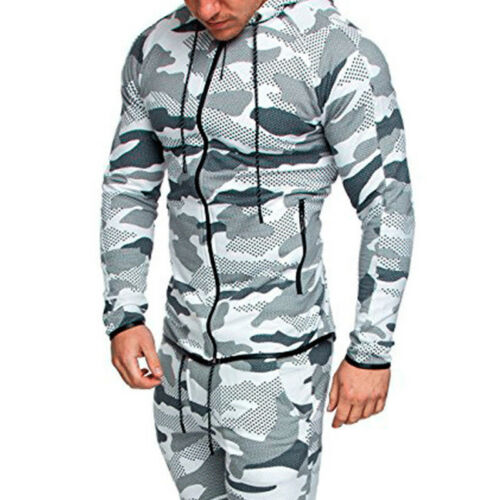 Mens Winter Slim Hoodies Warm Hooded Sweatshirt Zip-Up Coats Jacket Outwear Tops