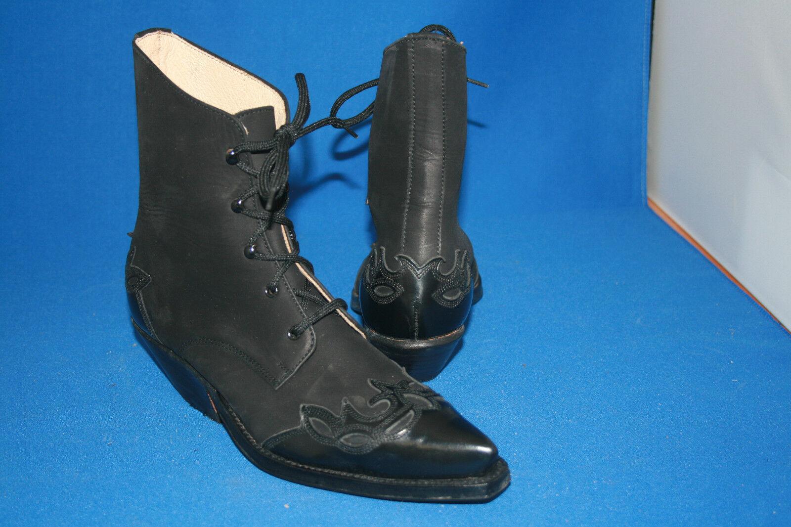 Prime botín Western negro bota botas vaqueras botas talla. 36 nuevo cuero negro Western 6caef0