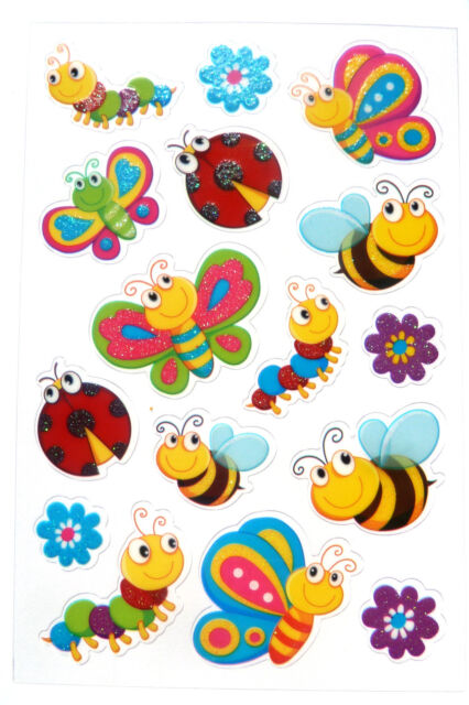Bumble Bee /& Caterpillar Stickers childrens kids card making labels PVC02