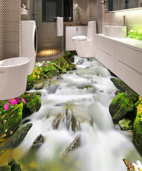 3D Creek Moss Stone 6 Floor WallPaper Murals Wall Print 5D AJ WALLPAPER UK Lemon