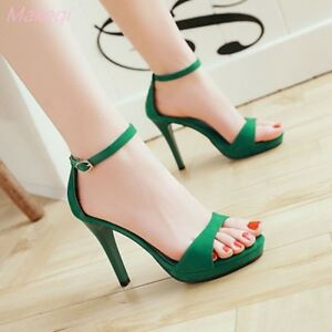 Summer-Womens-High-Heels-Ankle-Strap-Sandal-Pumps-Suede-Formal-Stiletto-Shoes
