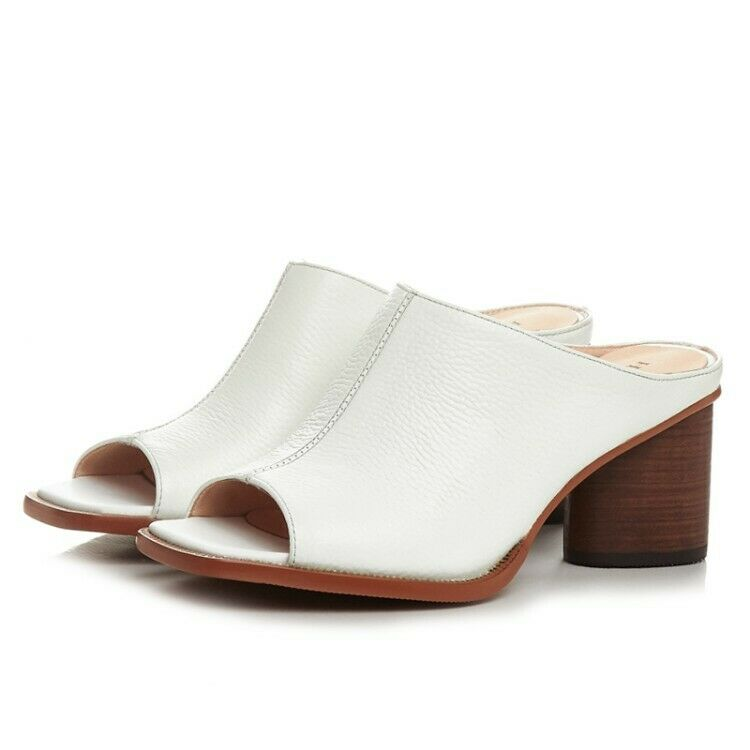 Women's Leather Mules Mules Mules Sandals High Heels Peep Toe Fashion Casual shoes US4.5-8 d2297e