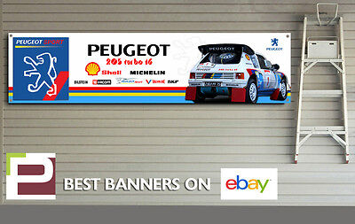 Peugeot 205 T16 Garage Banner (White) for Workshop, Garage, T16, Rally Team
