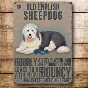 Details About Old English Sheepdog Colourful Metal Dangler Mini Hanging Sign Dogs
