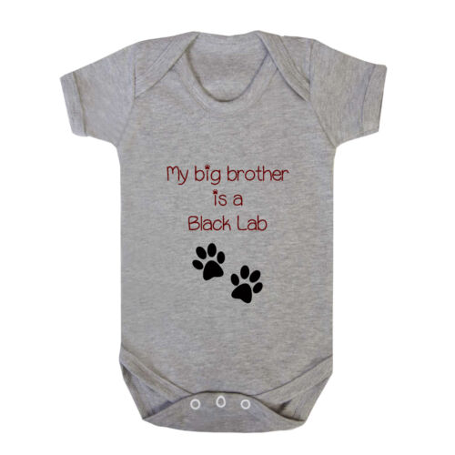 My Big Brother Is A Black Lab Dog Paws Infant Toddler Baby Bodysuit One Piece