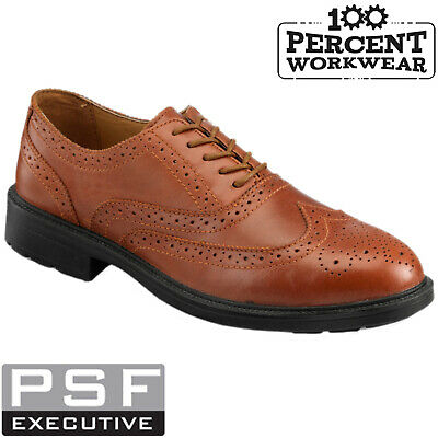 Tan Brown Mens Brogue Safety Work Shoes