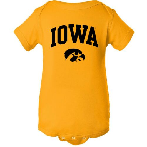 Gold Iowa Hawkeyes Arch Logo Licensed Unisex Creeper