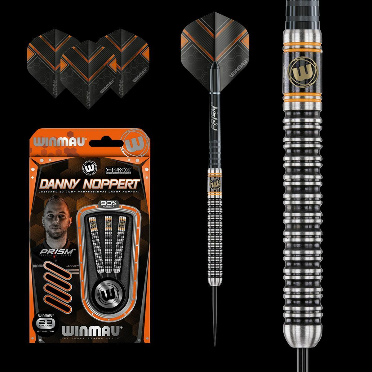 Winmau Danny Noppert 23g Onyx 90% Tungsten Darts Set