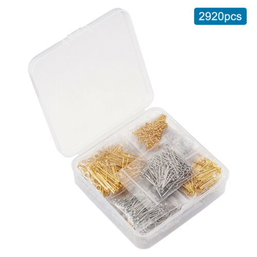 Jump Rings Clasps Crimp Beads Screw Eye Pins Finding Jewelry Starters Making Kit