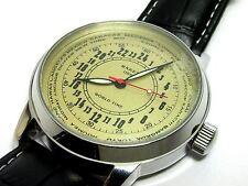 Raketa World Time Wrist Hand Watch 24hours Russian Military Mechanical