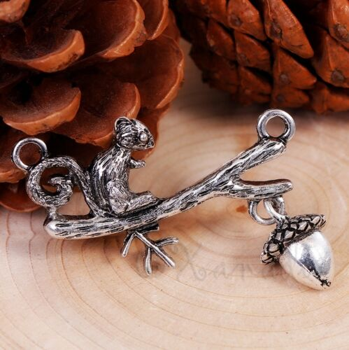 Squirrel Connector Pendant With Silver Plated Acorn Charm 5482-2 5 Or 10PCs