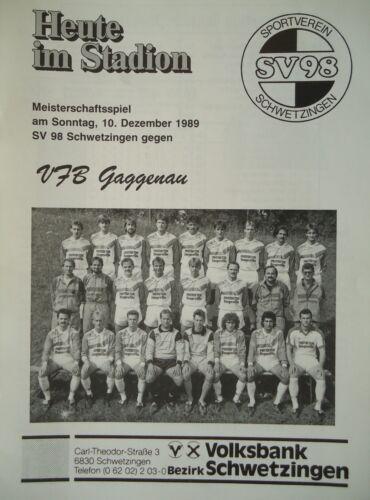 Programm 1989//90 SV 98 Schwetzingen VfB Gaggenau