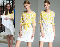 Kate Style Yellow White Buttercup Floral Print Cotton Dress size 8 10 12 14 16