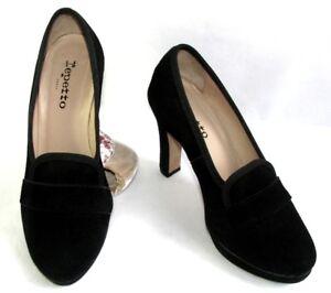 REPETTO-Zapatos-tacones-9-5-cm-plataforma-cuero-terciopelo-negro-37