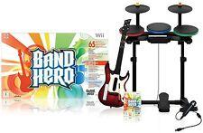 Nintendo Wii-U/Wii BAND HERO Super Bundle Set guitar FREE SHIPPIN drums mic game