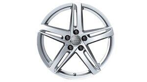 Original-Audi-A4-8K-Aluminium-Felge-im-5-Arm-Rotor-Design-brillantsilber-18-Zoll