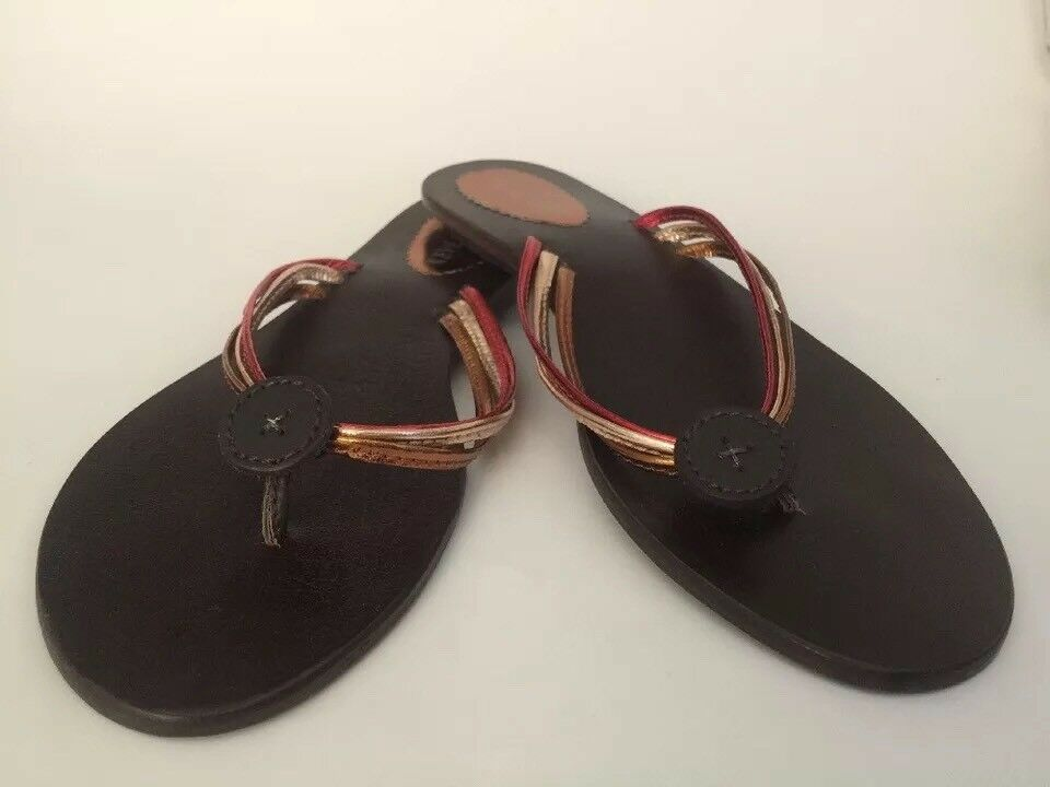 Casual Barn Sandals Size 9 Leather Thong Slip On Summer Flip-Flops Sandals Brown