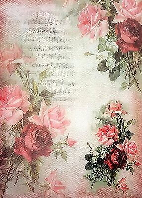 Rice Paper - for Decoupage - sheet - Music and Roses  - Scrapbooking - red
