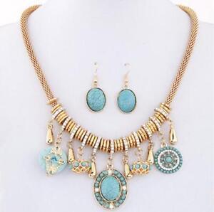 Fashion-Bohemia-Ethnic-Customs-Turquoise-Necklace-Earring-Women-Jewelry-Sets