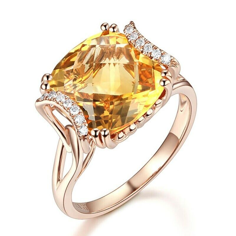 14k pink gold Natural Full Cut Diamond Citrine Ravishing Engagement Ring