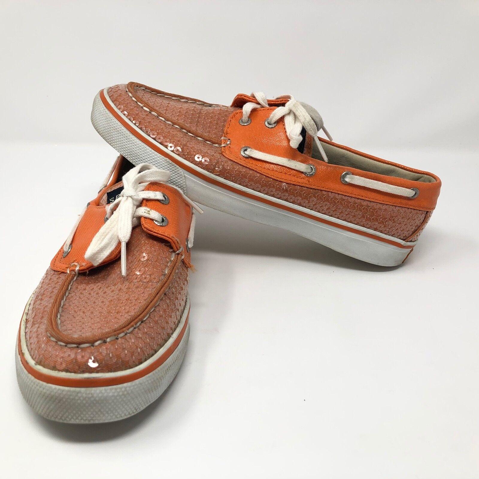 Sperry Top Sider Womens Bahama orange Sparkle Slip On Boat shoes Sz 8