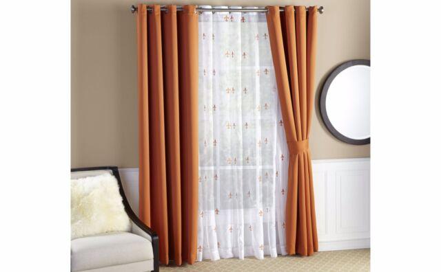 Sea Fleur De Lis Voile Thermal Insulated Blackout Curtains 6 Piece Set