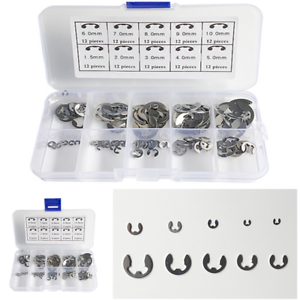 M1.5~M10 Car 120Pcs 304 Stainless Steel E-Clip Retaining Circlip Assortment Kit