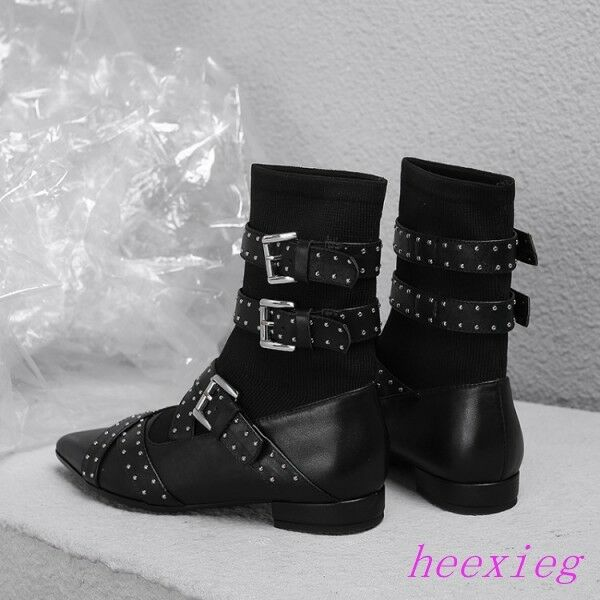 Gothic Punk Womens Rivets Punk Combat Shoes Ankle Strap Boots Pointy Toe Black