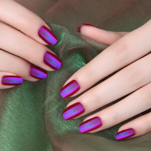 24pcs Shiny Short False Nails Tips Pre Designed Full Nails Tip