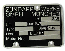 Typenschild Motor Zündapp Modell 196