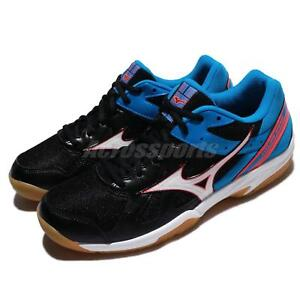 Mizuno-Cyclone-Speed-Black-Blue-Men-Badminton-Volleyball-Shoes-V1GA17-8092
