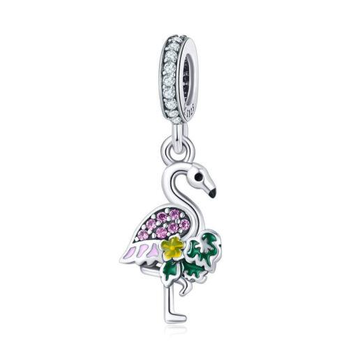 Cute Bird /& Parrot Enamel Charm 925 Sterling Silver Bead Fits European Bracelet