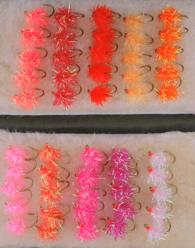 50 Estaz Egg fly HOT assortment Steelhead Salmon Flies Trout Spawn #6 #8 #10