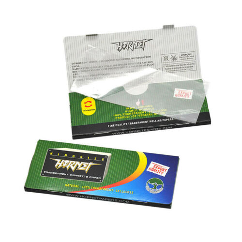 Hornet Silver Kingsize Transparent Rolling Papers Box of 24x50