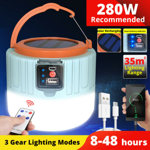 NEW Solar LED Camping Light Portable USB Rechargeable Bulb Outdoor Tent Lamp