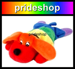 Rainbow Beanie Dog Soft Plush Toy Genuine Rainbow Lesbian Gay Pride #197