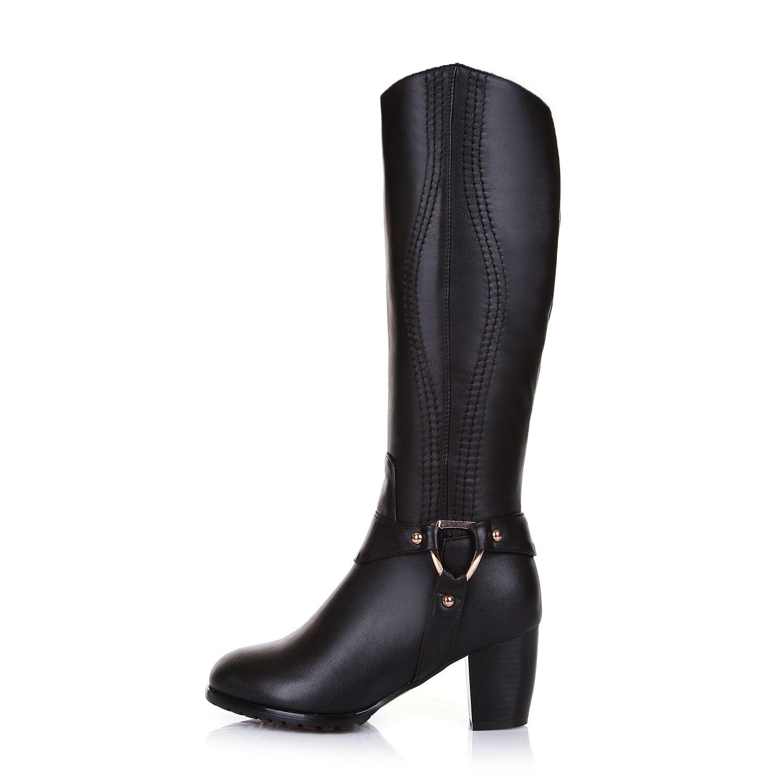 2019 lo último Para mujeres Cuero genuino Med Bloque Tacón Cremallera botas Mitad de Pantorrilla Zapatos