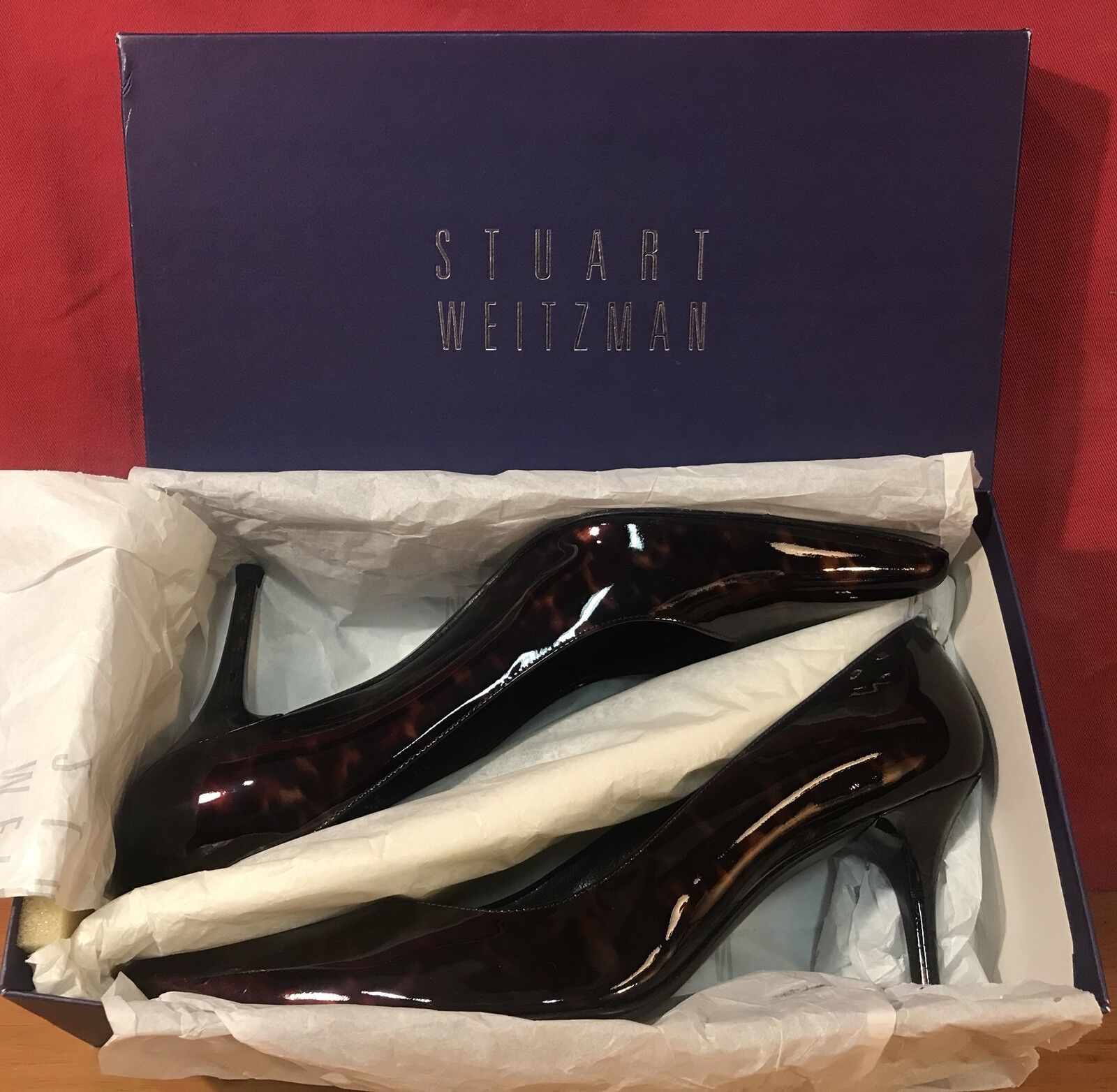 Brand New Stuart Weitzman Sonata Cognac Tartarus Patent Leather Tortoise 9.5M