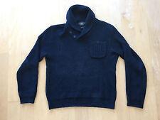 RRL Double RL Shawl Collar Navy Cotton Linen Ribbed Sweater Polo Ralph Lauren M