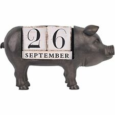Nikky Home Vintage Animal Pig Wooden Perpetual Desk Calendar Blocks Black Home