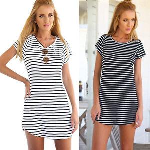 Women-Casual-Dress-Crew-Neck-Short-Sleeve-Striped-Loose-T-Shirt-Mini-Dress-SD