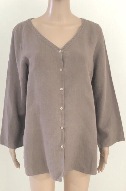 Eileen Fisher Women's Size L Textured Shirt Brown 100% Linen Button Front Top