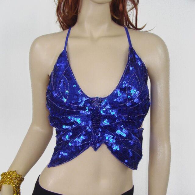 Freebily Womens Sequins Beads Belly Dance Crop Top Costume Round Neck Dancing Training Tops