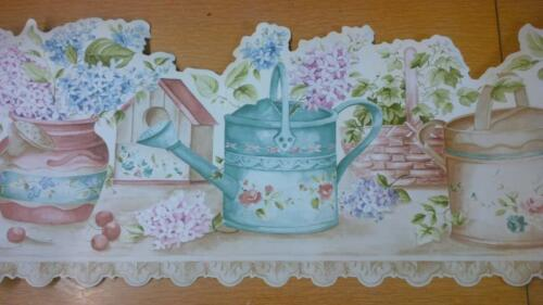 COUNTRY WATERING CANS FLOWERS WALLPAPER BORDER BASKETS BIRDHOUSES