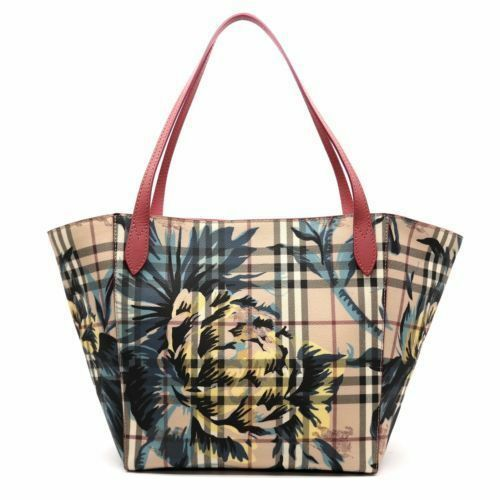 100 Auth Burberry Canterbury Haymarket Check Flower Tote Bag handbag purse  for sale online  4186c77ab230d