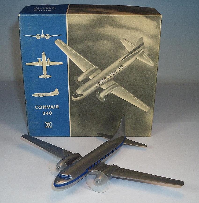 Wiking Avion 1 200 CONVAIR 340  argentés 60er Ans neuf dans sa boîte  343  magasin pas cher