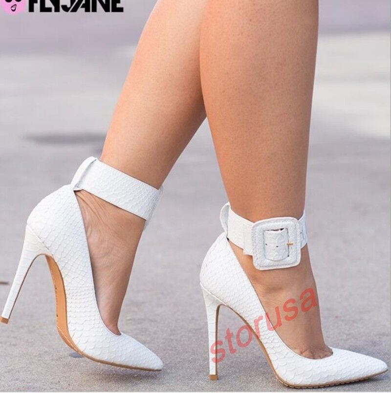 US US US 11 Women's Patent Leather Pointed Toe shoes Clubwear Buckle Strap Pumps Ske15 cae58c