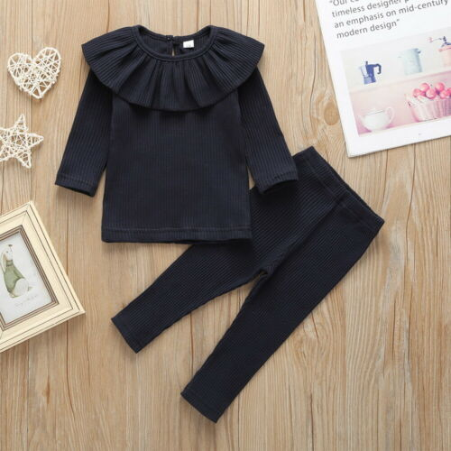 Baby Girls Ruffled Collar Long Sleeve Tops+Pants Solid Striped 2Pcs Outfits Set